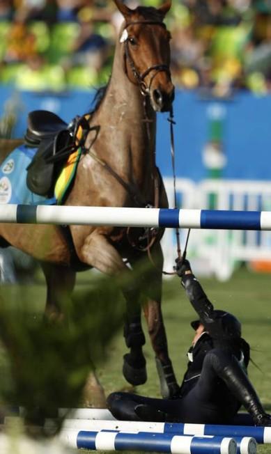 Haydy Morsy acabou eliminada da competição de salto Jorge William / Agência O Globo