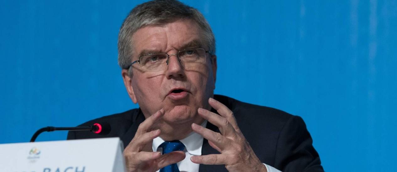 O president do Comitê Olímpico Internacional, Thomas Bach Foto: Laurent Kalfala / AFP