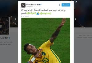 Bolt homenageia seleção brasileira Foto: Reprodução