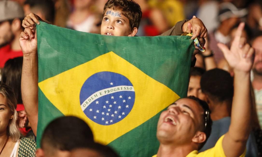 Boulevard ficou verde e amarelo durante a final história entre Brasil e Alemanha Barbara Lopes / Agência O Globo