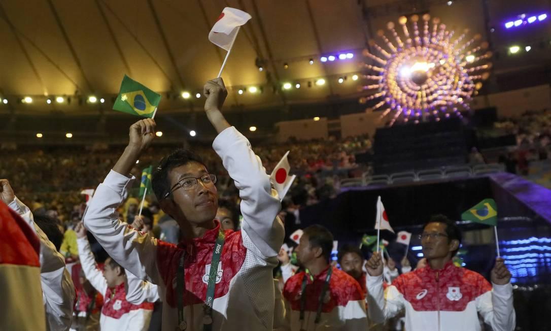 Os anfitriões da próxima Olimpíada, de Tóquio, também na festa STEFAN WERMUTH / REUTERS