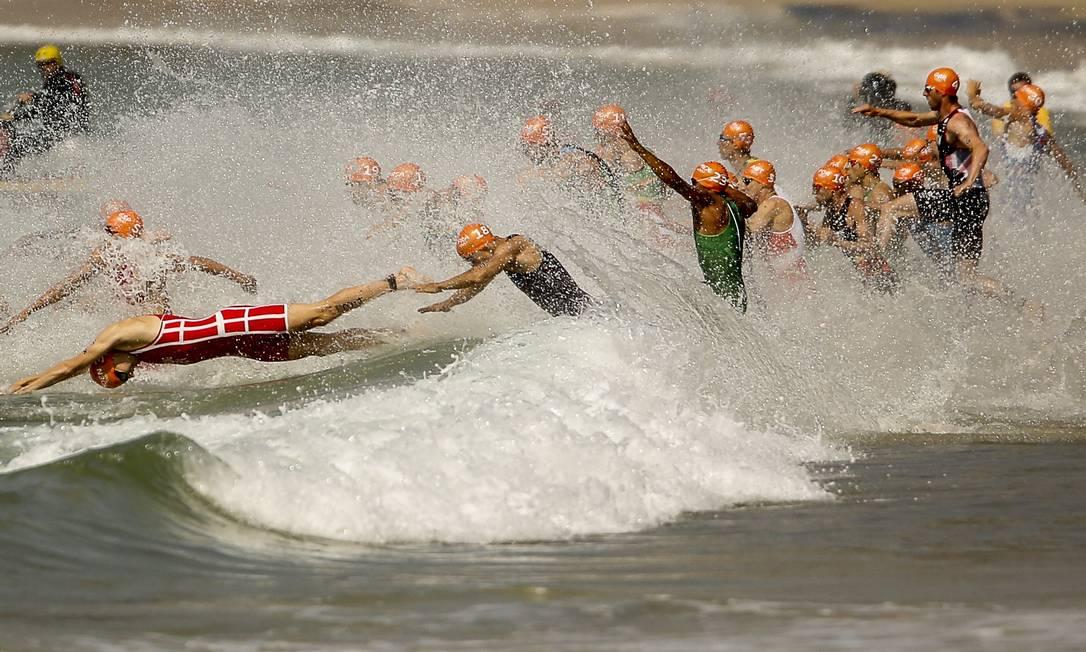 Triatlo Olímpico aconteceu na praia de Copacabana Guilherme Leporace / Agência O Globo
