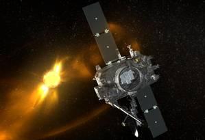 Ilustração mostra o observatório espacial STEREO-B mirando seus instrumentos para o Sol Foto: NASA
