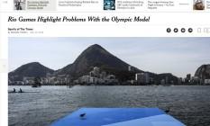 """Página do """"NYT"""" mostra a Lagoa: água foi preocupação para os Jogos Foto: Reprodução"""