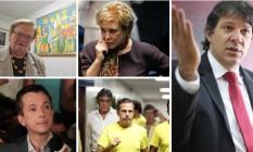 Em sentido horário, Erundina, Marta, Haddad (que tenta a reeleição), Dória e Russomanno Foto: Imagens de arquivo