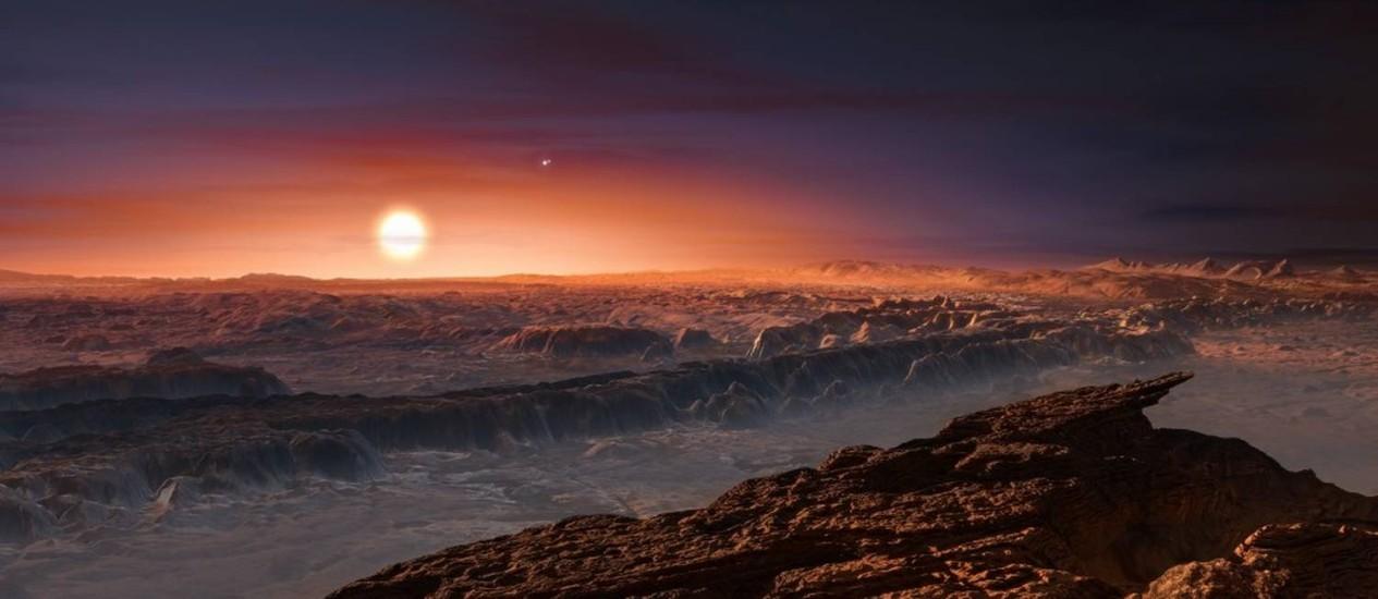 Ilustração apresenta hipotética paisagem da superfície do planeta Proxima b Foto: ESO/M. Kornmesser