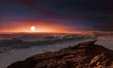 Ilustração representa a superfície hipotética do planeta Proxima B Foto: ESO/M. Kornmesser