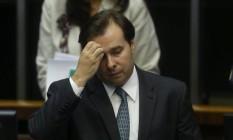 Rodrigo Maia, presidente da Câmara dos Deputados, acredita que DEM é prejudicado por decisão do TRE Foto: André Coelho / O GLOBO