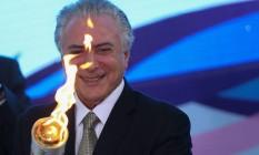 BRASIL - BRASÍLIA -BSB - 25/08/2016 - O Presidente Interino MIchel Temer em participa de Cerimônia de Recepção da Tocha Paralímpica no Palácio do Planalto. FOTO ANDRE COELHO / Agencia O Globo Foto: ANDRE COELHO / Agência O Globo