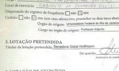 Ato assinado pela senadora Gleisi Hoffmann (PT-SC) para nomeação de Esther Dweck, ex-secretária do Ministério do Planejamento Foto: Eduardo Bresciani / O Globo