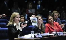 A senadora Gleisi Hoffmann (PT-PR) no julgamento do impeachment Foto: Agência Senado