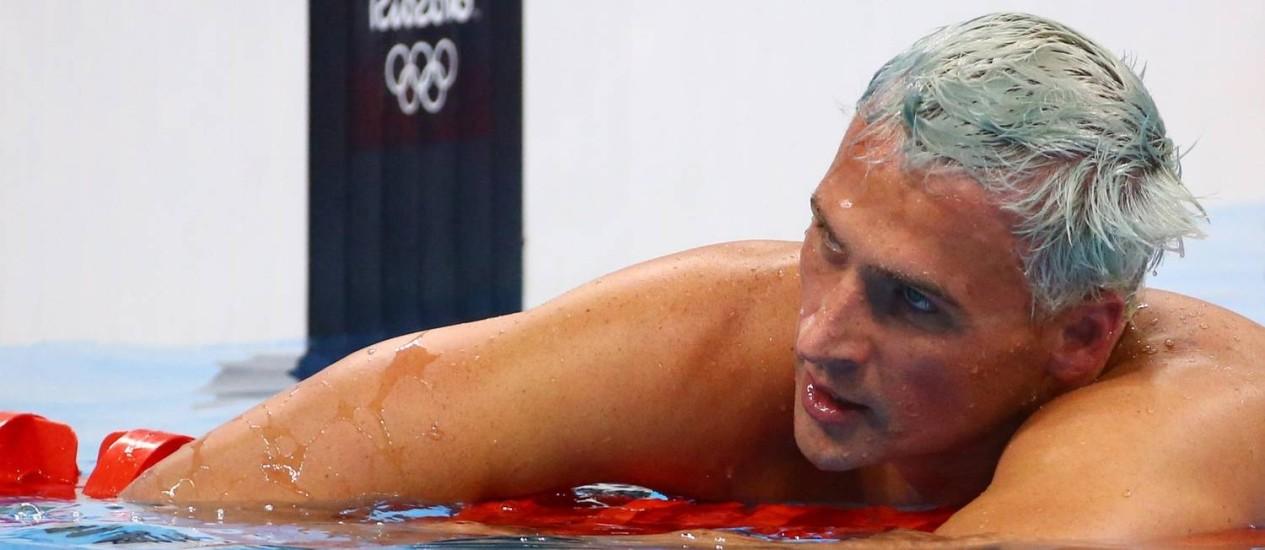 Ryan Lochte na piscina do Estádio Aquático do Rio Foto: DAVID GRAY / REUTERS