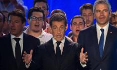 Nicolas Sarkozy faz discurso em Chateaurenard, na França Foto: BERTRAND LANGLOIS / AFP