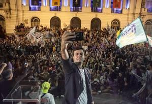 O candidato Marcelo Freixo na Cinelândia Foto: Reprodução / Facebook