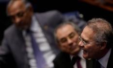 O presidente do Senado, Renan Calheiros (PMDB-AL), durante sessão para discutir impeachment Foto: Ueslei Marcelino / REUTERS