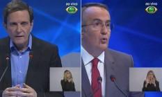 Imagens mostram a performance da intérprete de Libras no debate eleitoral da Band Foto: Reprodução TV