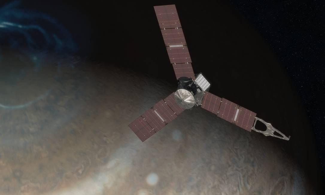 Ilustração da Nasa mostra a sonda Juno passando sobre um dos polos de Júpiter: em busca dos mistérios da origem do planeta e da formação do Sistema Solar Foto: Nasa/JPL