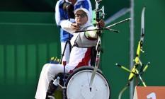 A iraniana Zahra Nemati em ação na Olimpíada do Rio Foto: JEWEL SAMAD / AFP