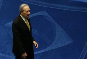 O ministro Ricardo Lewandowski, presidente do Supremo Tribunal Federal (STF), durante sessão do julgamento do impeachment Foto: Ailton de Freitas / Agência O Globo