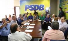Reunião dos partidos da base aliada para discutir estrátegia para depoimento da presidenta afastada Dilma Rousseff, nesta segunda-feira, no Senado Federal Foto: Ailton de Freitas / Agência O Globo