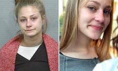 Amy Sharp, na foto divulgada pela polícia e, à direita, na imagem que ela ofereceu via Facebook Foto: Reprodução da web