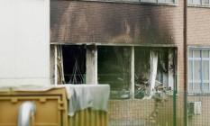 O Instituto Nacional de Criminalística e Criminologia (INCC), em Bruxelas, após o incêndio de origem criminosa Foto: Thierry Roge / AFP