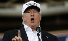 Candidato Donald Trump discursa em evento em Des Moines, Iowa Foto: Gerald Herbert / AP
