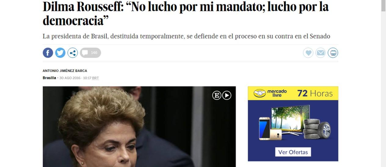 Discurso de Dilma repercute em jornais internacionais Foto: Reprodução