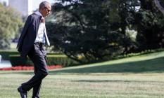 Barack Obama chega à Casa Branca em Washington Foto: ZACH GIBSON / AFP