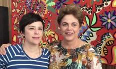 A cantora Fernanda Takai é recebida pela presidente afastada Dilma Rousseff no Palácio do Alvorada Foto: Reprodução da internet