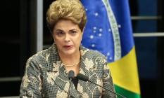 Presidente Dilma Rousseff falou nesta segunda-feira ao Senado, na etapa final do julgamento de impeachment Foto: André Coelho / Agência O Globo/29-8-2016