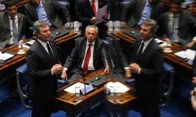 O senador Fernando Collor (PTB-AL) durante sua esplanação no Plenário do Senado Foto: Ailton de Freitas / O Globo