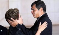 Dilma Rousseff e o presidente Rafael Correa do Equador no Palacio do Itamaraty durante a Reunião dos chefes de Estado do Mercosul, dos Estados Associados e dos países convidados, em 2012 Foto: Gustavo Miranda / Agência O Globo