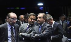 Os senadores Aloysio Nunes Ferreira, Aécio Neves e José Agripino Maia Foto: Geraldo Magela / Agência Senado / 31-8-2016