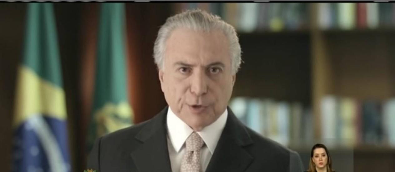 Temer faz primeiro pronunciamento na TV como presidente da República Foto: Reprodução