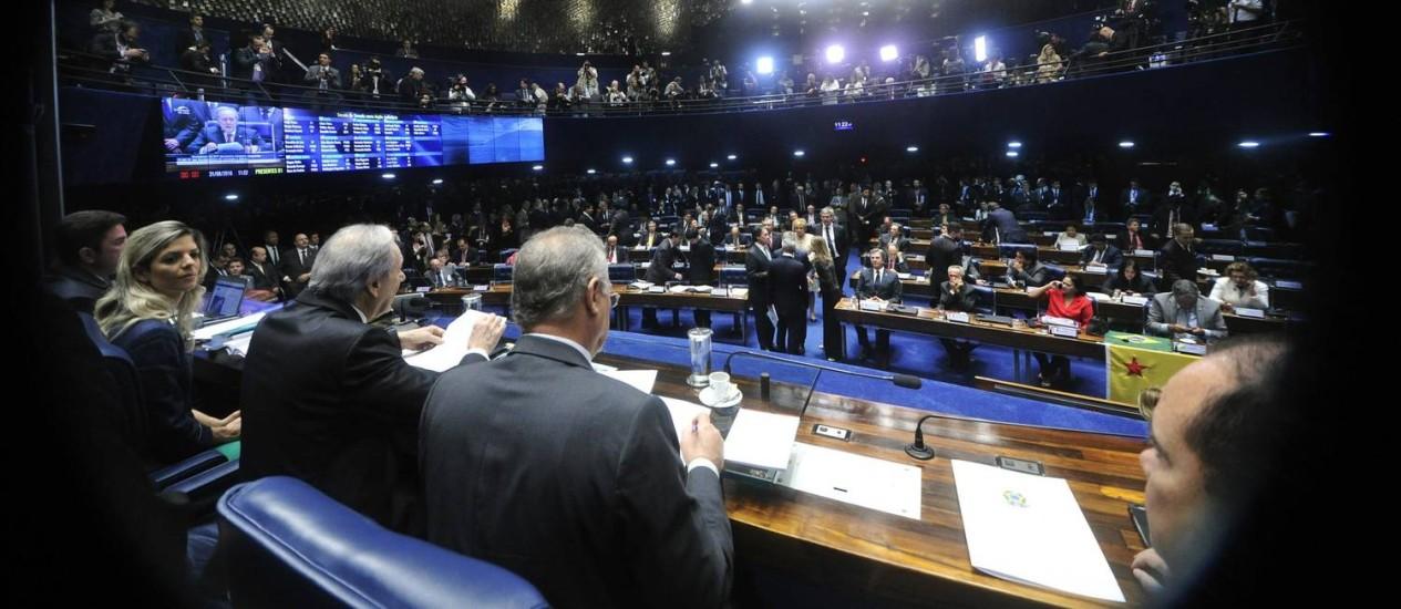 O ministro Ricardo Lewandowski preside o julgamento de Dilma Rousseff no Senado Foto: Geraldo Magela/Agência Senado
