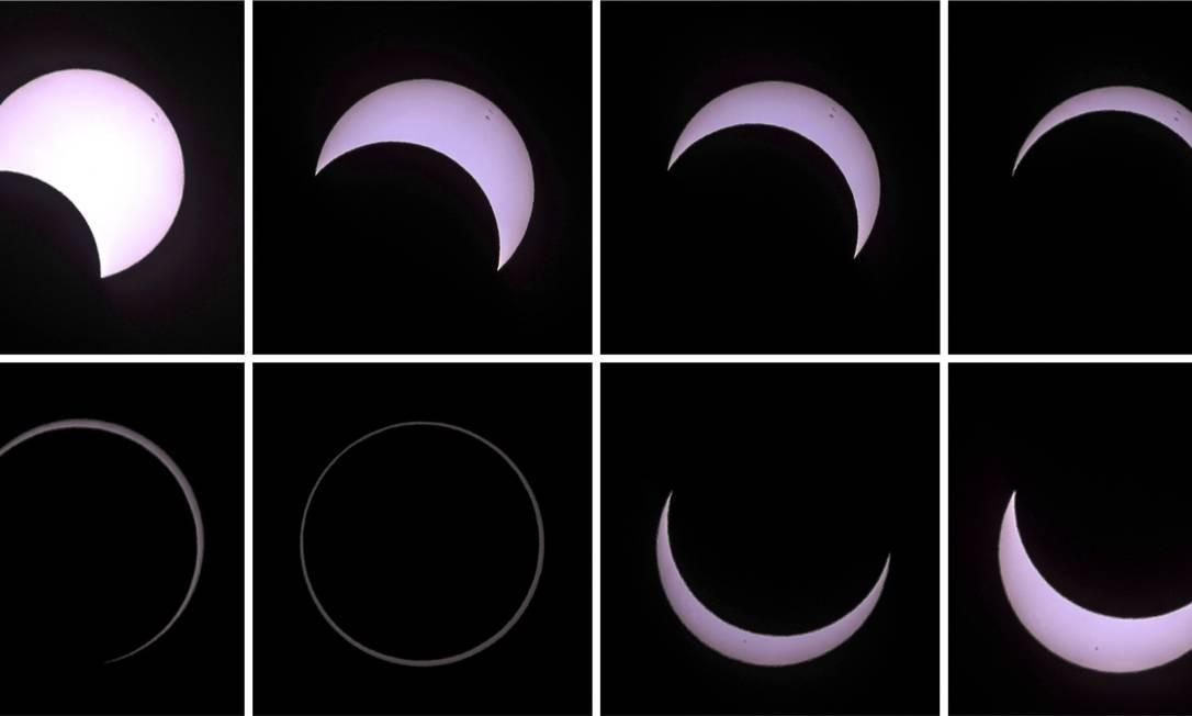 Fotos mostram eclipse do começo ao fim Foto: GILLES ADT / REUTERS