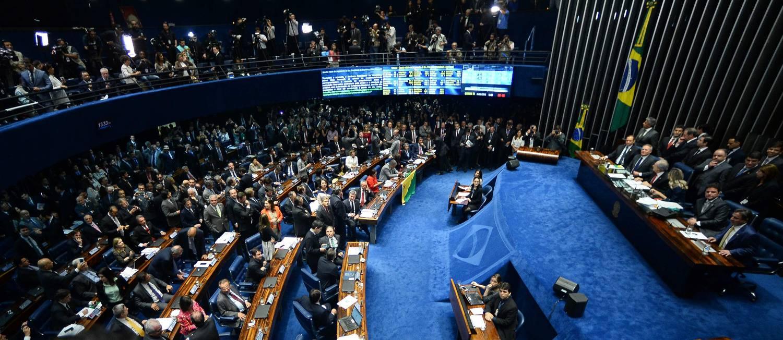 O plenário do Senado durante o impeachment de Dilma Rousseff Foto: Andressa Anholete / AFP / 31-8-2016