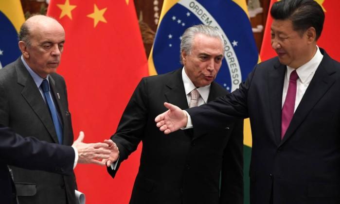 Serra, Temer e Xi Jinping no encontro G20