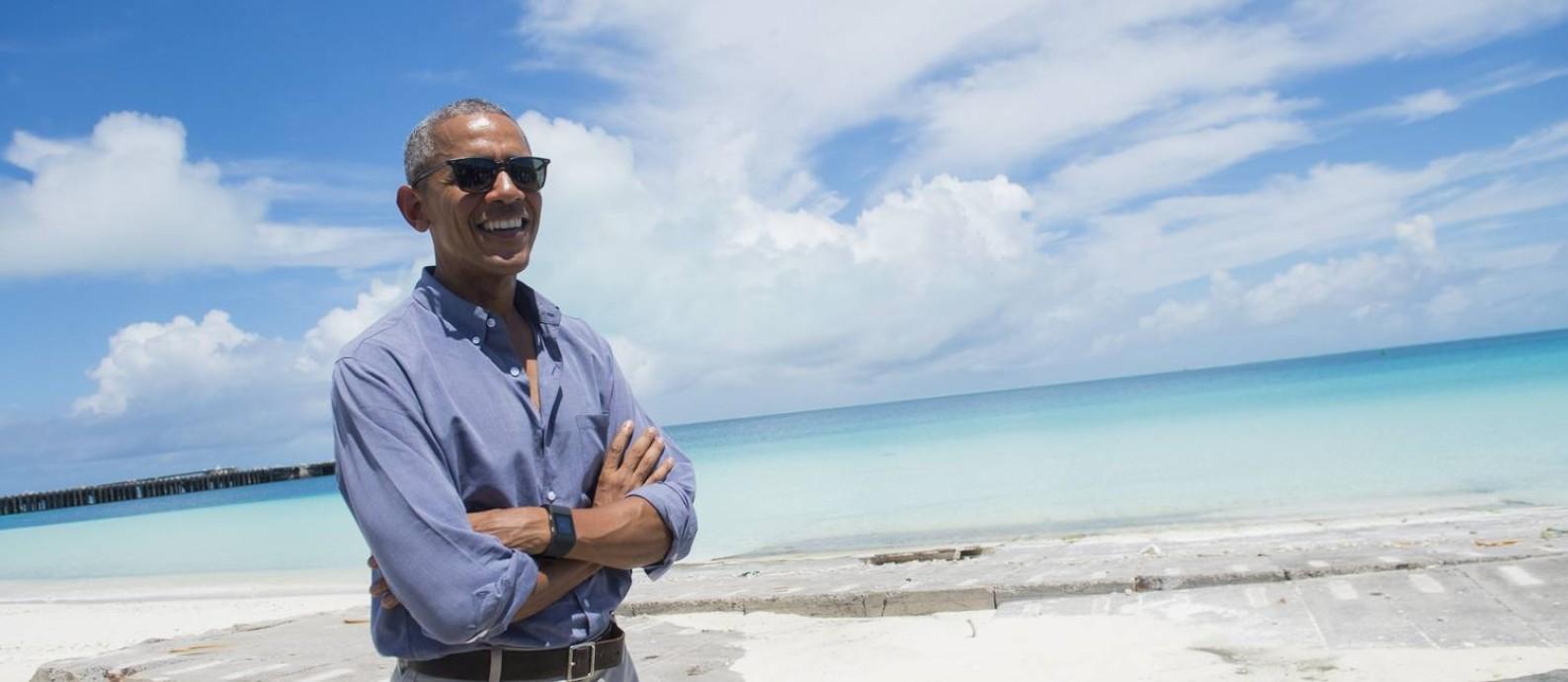 O presidente americano, Barack Obama, visitou o Atol Midway, no Monumento Nacional Marinho Papahānaumokuākea Foto: SAUL LOEB / AFP