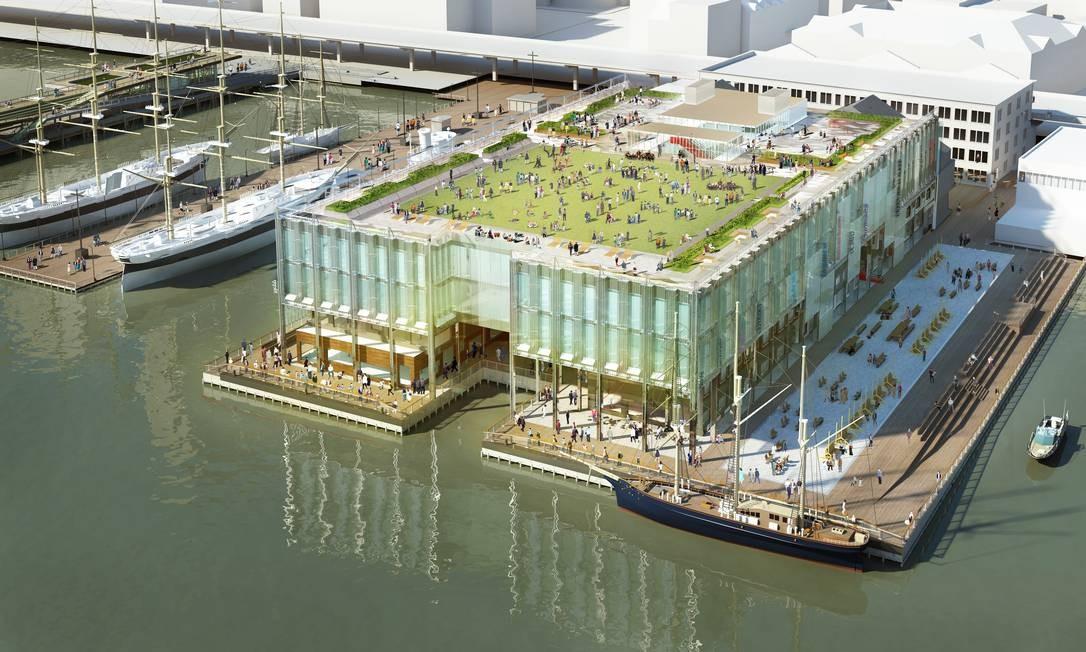 Projeto do Pier 17, parte do complexo South Street Seaport, com novas lojas, restaurantes e até um cinema, previsto para inaugurar em 2017, será outro marco para Lower Manhattan Foto: Divulgação