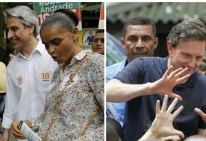 Os candidatos à prefeitura do Rio Alessandro Molon (Rede) e Marcelo Crivella (PRB) fizeram campanha, neste sábado, no calçadão de Campo Grande, na Zona Oeste do Rio Foto: .