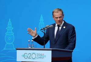 O presidente da União Europeia Donald Tusk em coletiva para a imprensa no encontro do G20 na China Foto: CHINA DAILY / REUTERS
