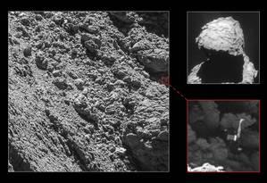 Imagem mostra robô Philae preso embaixo de uma rocha, o que impediu o carregamento das baterias solares Foto: ESA