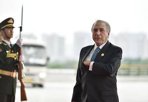 O presidente Michel Temer em Hangzhou, na China, antes de embarcar de volta ao Brasil Foto: Etienne Oliveau/Pool / REUTERS