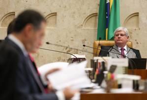 O procurador-geral da República, Rodrigo Janot, durante sessão no STF Foto: André Coelho / Agência O Globo