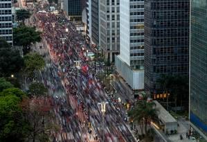 A Avenida Paulista, em São Paulo, foi palco de protesto contra o impeachment da ex-presidente Dilma Rousseff neste domingo Foto: Pedro Kirilos / Agência O Globo / Arquivo / 04/09/2016