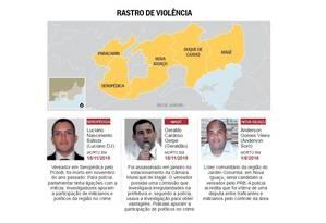 Baixada enfrenta onda de assassinatos de políticos Foto: Editoria de Arte / O Globo