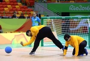 A seleção brasileira masculina de goalball estreou com vitória na Paralimpíada Foto: Pablo Jacob/O Globo