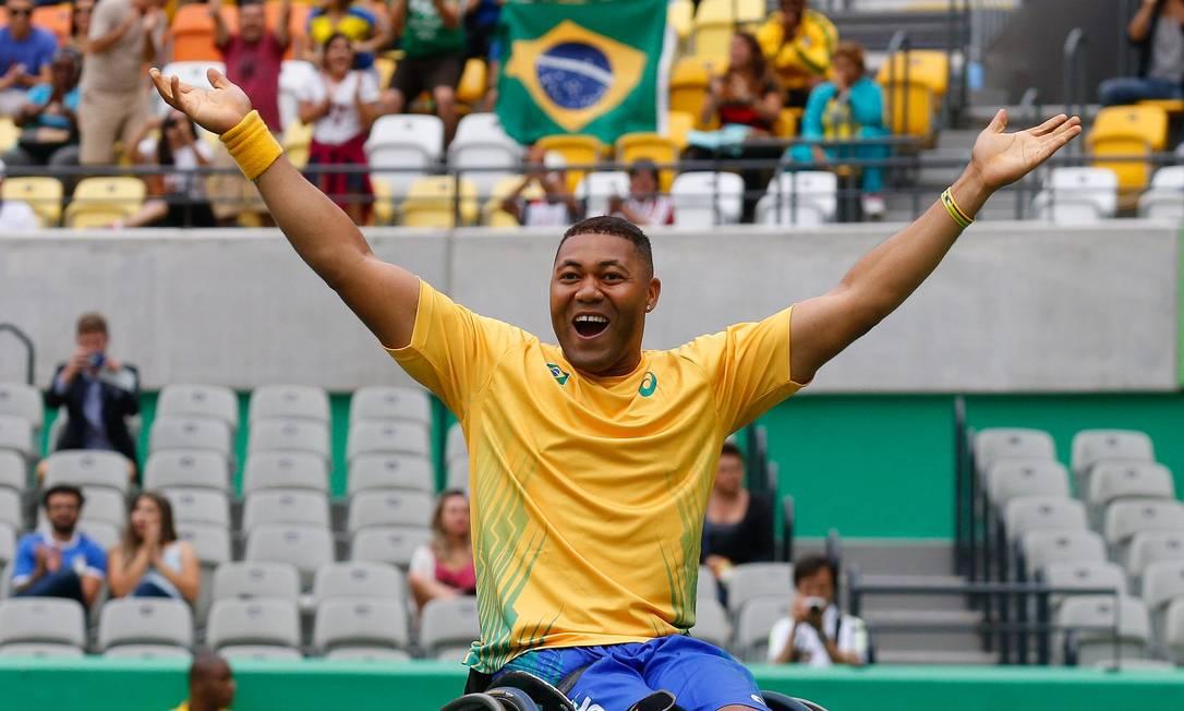 Tênis em cadeira de rodas China x Brasil, Daniel rodrigues comemora a sua vitória Pablo Jacob / Agência O Globo